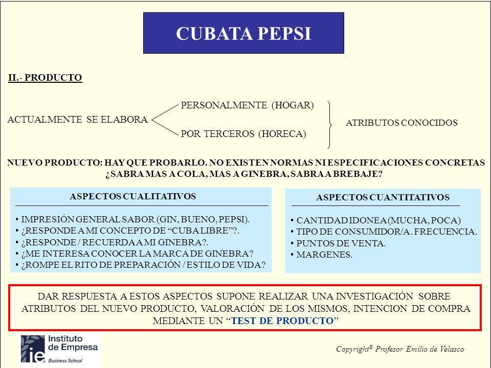 CUBATA PEPSI II.- PRODUCTO PERSONALMENTE (HOGAR) POR TERCEROS (HORECA)