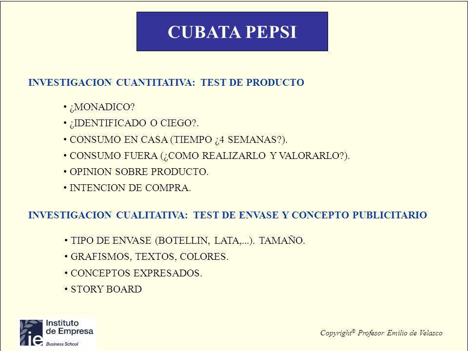 CUBATA PEPSI INVESTIGACION CUANTITATIVA: TEST DE PRODUCTO ¿MONADICO