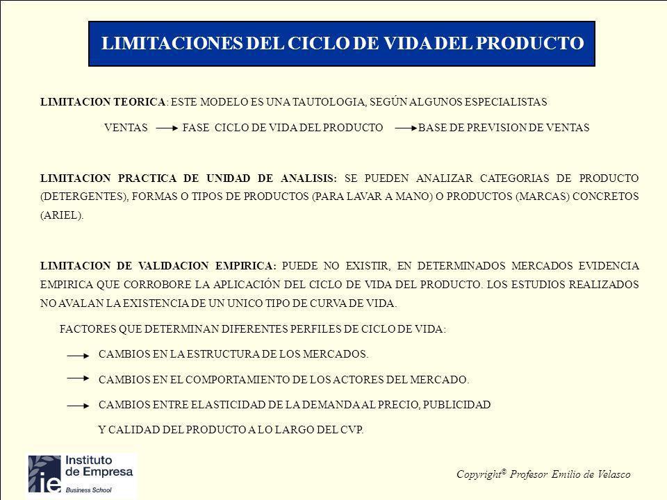 LIMITACIONES DEL CICLO DE VIDA DEL PRODUCTO