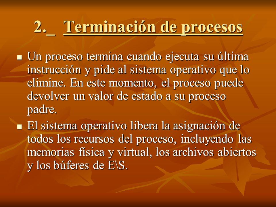 2._ Terminación de procesos