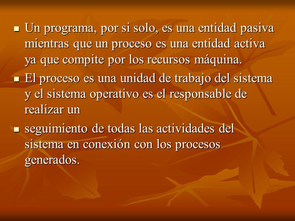 Un programa, por si solo, es una entidad pasiva mientras que un proceso es una entidad activa ya que compite por los recursos máquina.