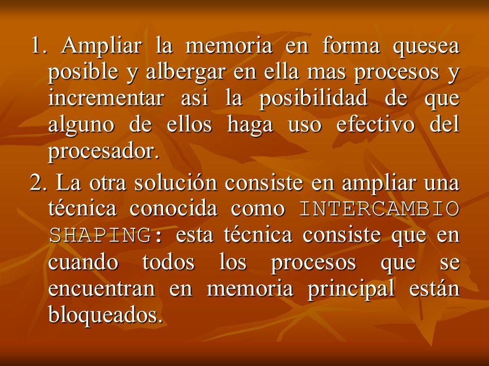 1. Ampliar la memoria en forma quesea posible y albergar en ella mas procesos y incrementar asi la posibilidad de que alguno de ellos haga uso efectivo del procesador.