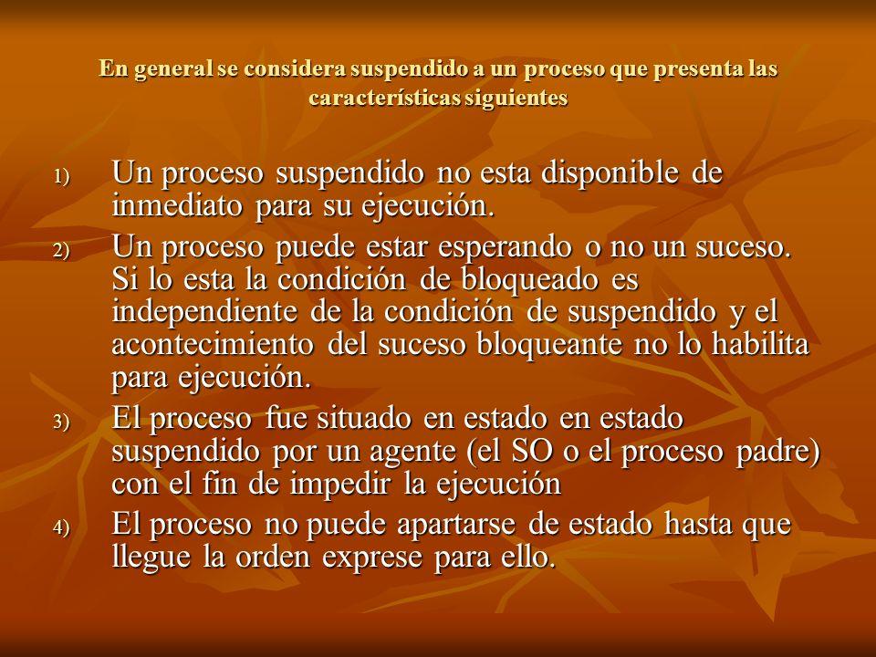 En general se considera suspendido a un proceso que presenta las características siguientes