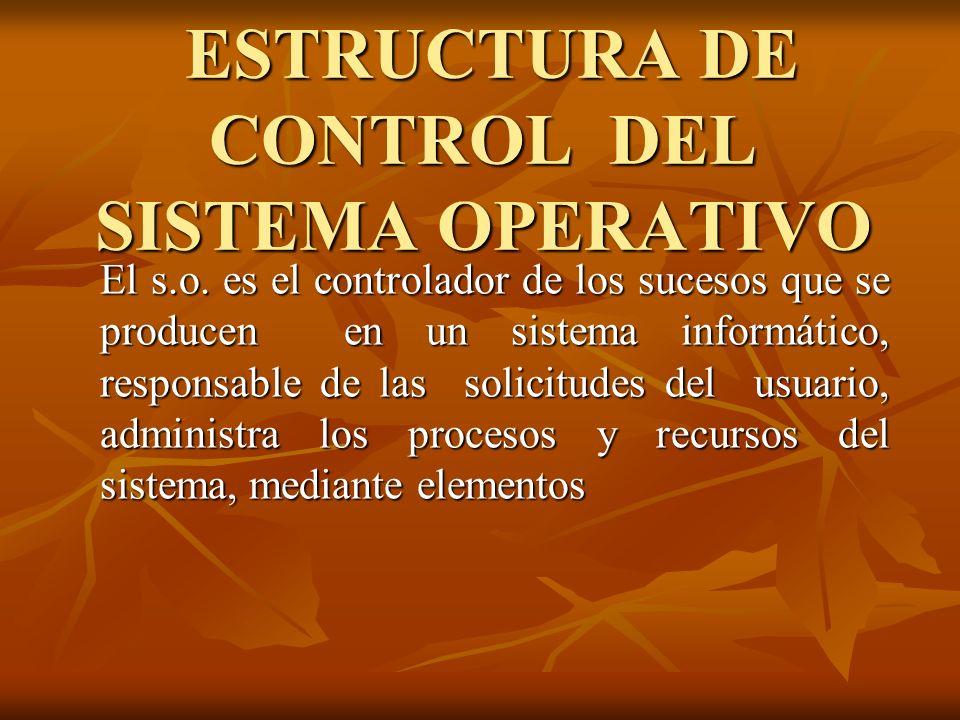 ESTRUCTURA DE CONTROL DEL SISTEMA OPERATIVO