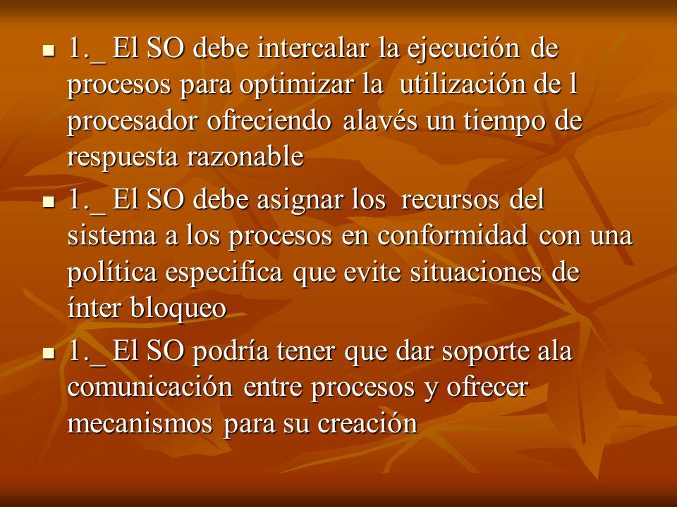 1._ El SO debe intercalar la ejecución de procesos para optimizar la utilización de l procesador ofreciendo alavés un tiempo de respuesta razonable