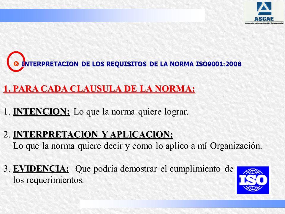 1. PARA CADA CLAUSULA DE LA NORMA:
