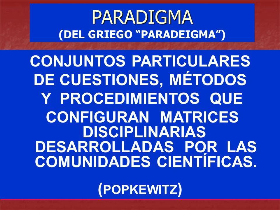 (DEL GRIEGO PARADEIGMA ) CONJUNTOS PARTICULARES