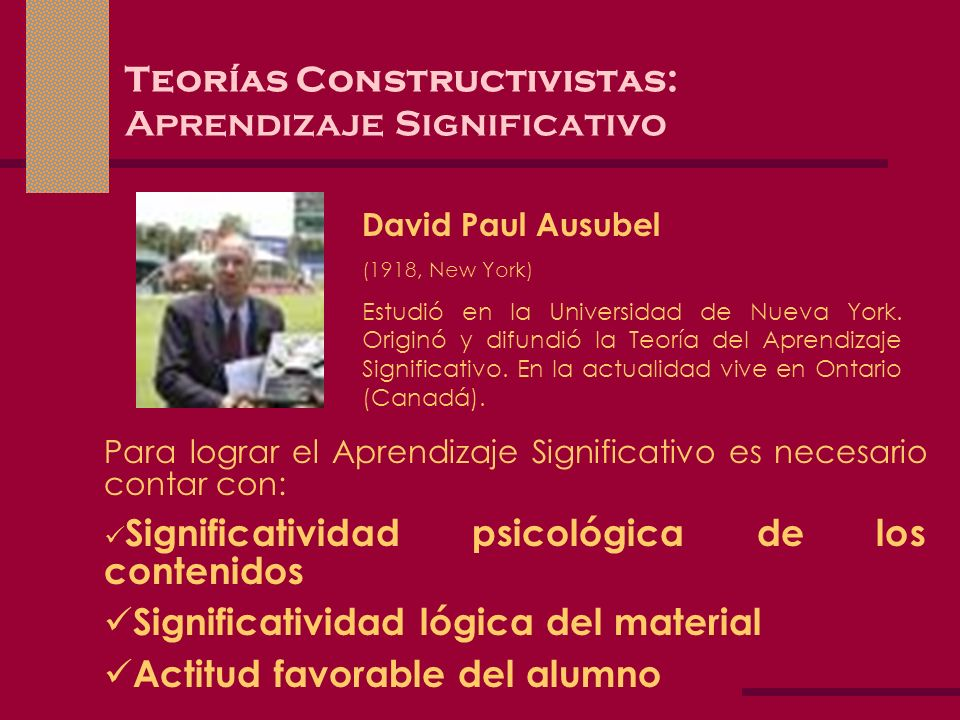 Teorías Constructivistas: Aprendizaje Significativo