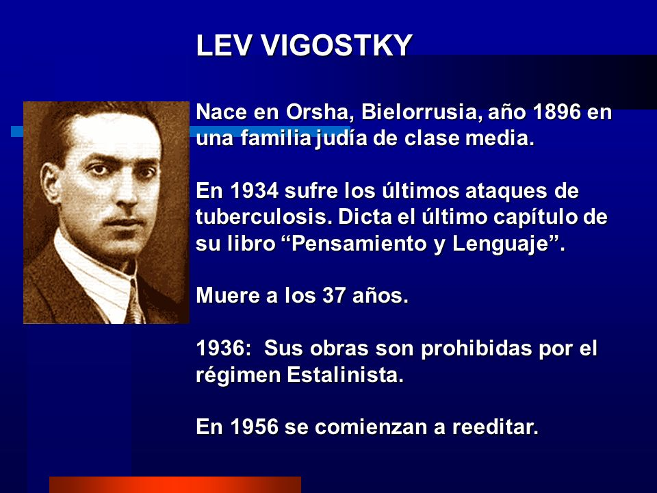 LEV VIGOSTKY Nace en Orsha, Bielorrusia, año 1896 en una familia judía de clase media.