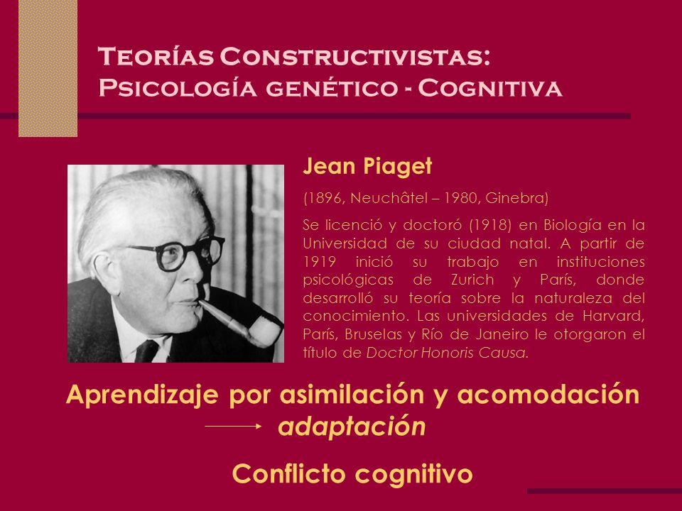 Teorías Constructivistas: Psicología genético - Cognitiva