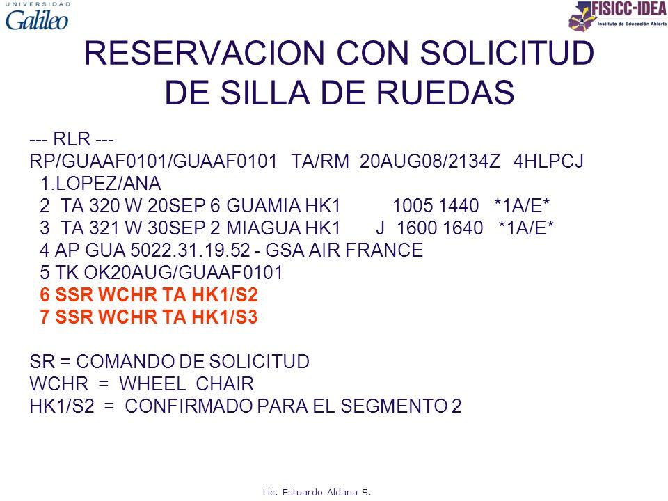 RESERVACION CON SOLICITUD DE SILLA DE RUEDAS