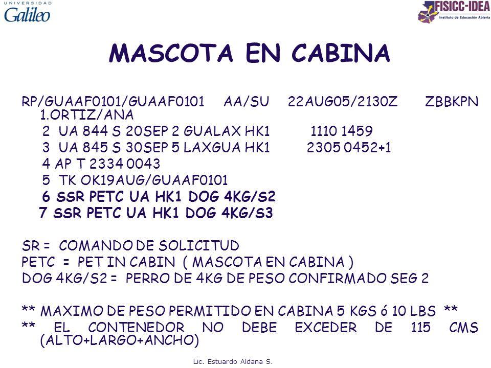 MASCOTA EN CABINA RP/GUAAF0101/GUAAF0101 AA/SU 22AUG05/2130Z ZBBKPN 1.ORTIZ/ANA.