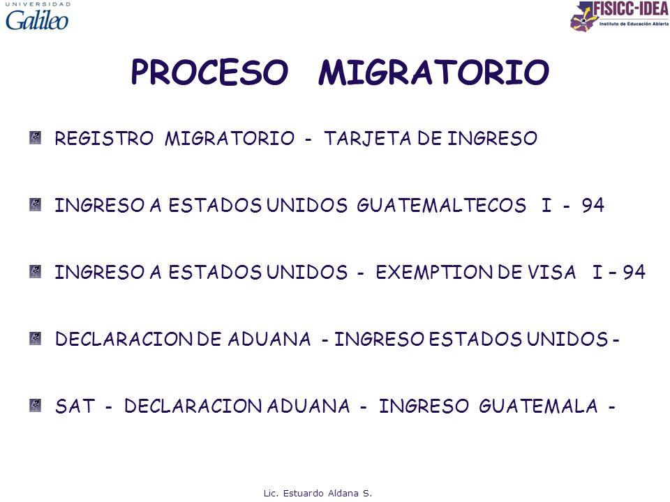 PROCESO MIGRATORIO REGISTRO MIGRATORIO - TARJETA DE INGRESO