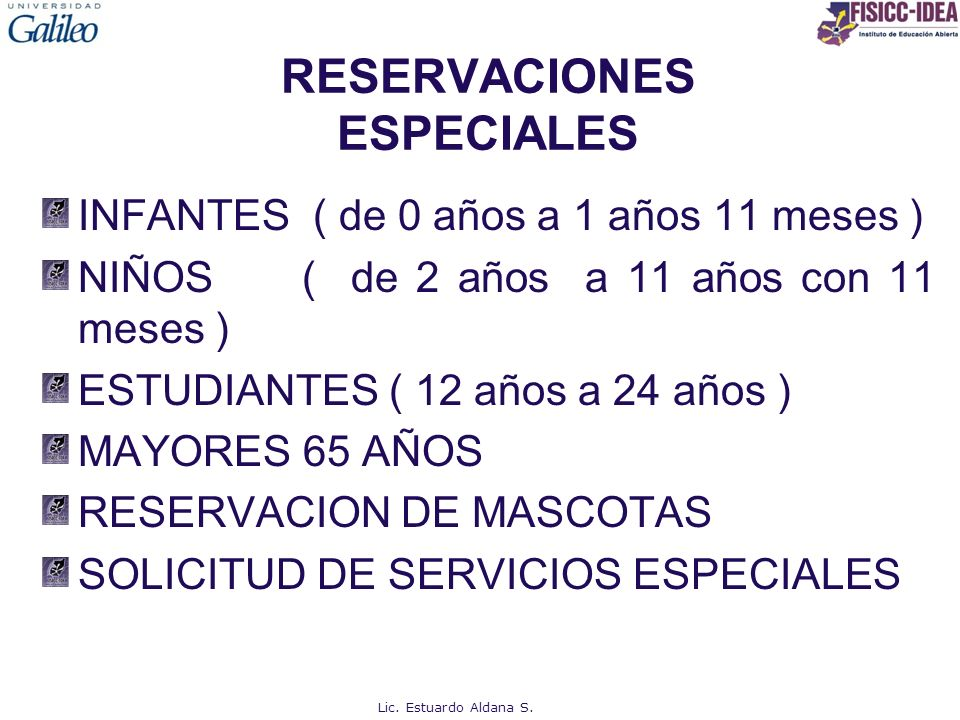 RESERVACIONES ESPECIALES