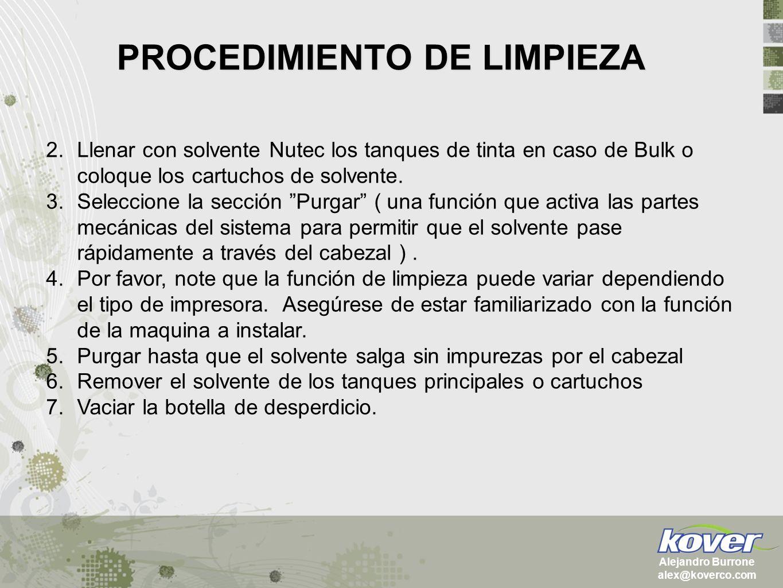 PROCEDIMIENTO DE LIMPIEZA