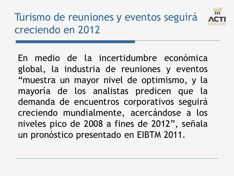 Turismo de reuniones y eventos seguirá creciendo en 2012