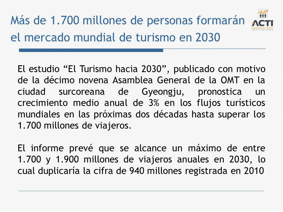 Más de 1.700 millones de personas formarán el mercado mundial de turismo en 2030