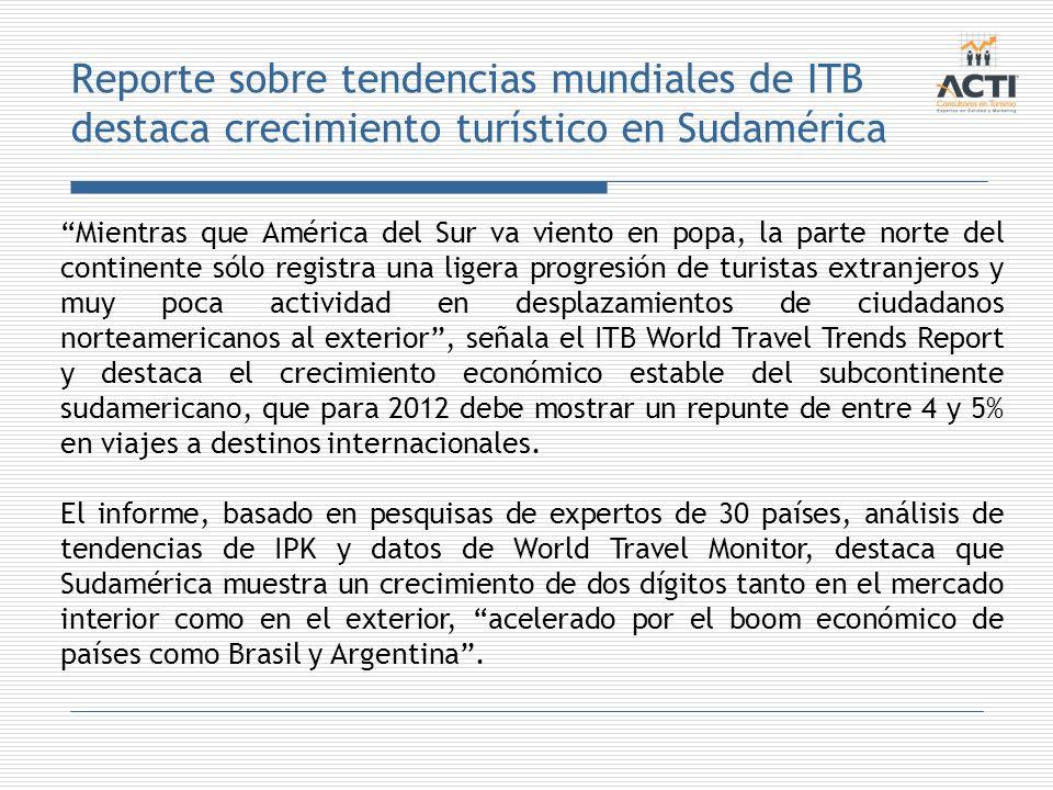 Reporte sobre tendencias mundiales de ITB destaca crecimiento turístico en Sudamérica
