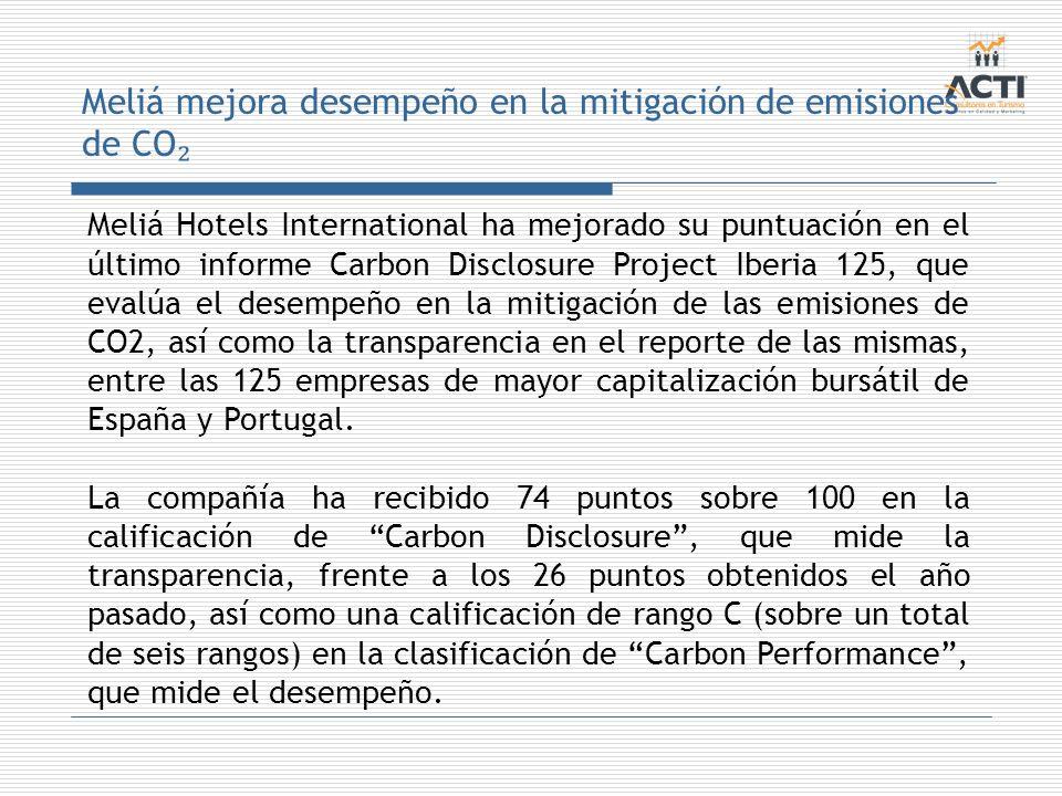 Meliá mejora desempeño en la mitigación de emisiones de CO₂