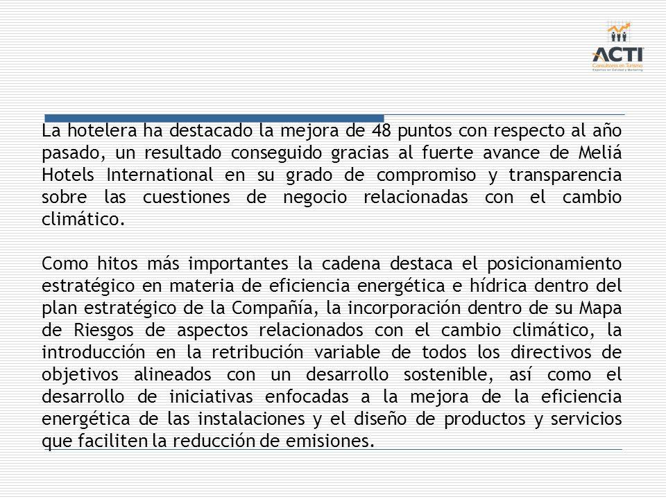 La hotelera ha destacado la mejora de 48 puntos con respecto al año pasado, un resultado conseguido gracias al fuerte avance de Meliá Hotels International en su grado de compromiso y transparencia sobre las cuestiones de negocio relacionadas con el cambio climático.