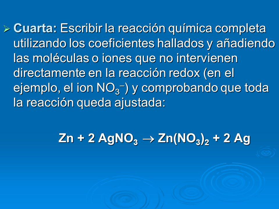 Cuarta: Escribir la reacción química completa utilizando los coeficientes hallados y añadiendo las moléculas o iones que no intervienen directamente en la reacción redox (en el ejemplo, el ion NO3–) y comprobando que toda la reacción queda ajustada: