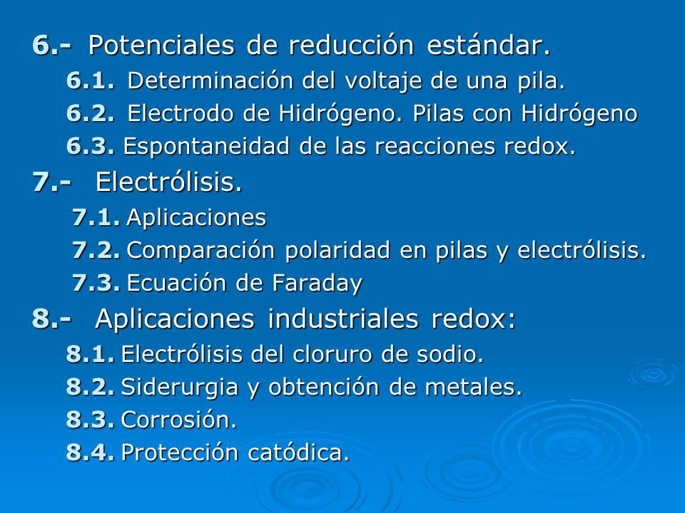 6.- Potenciales de reducción estándar.