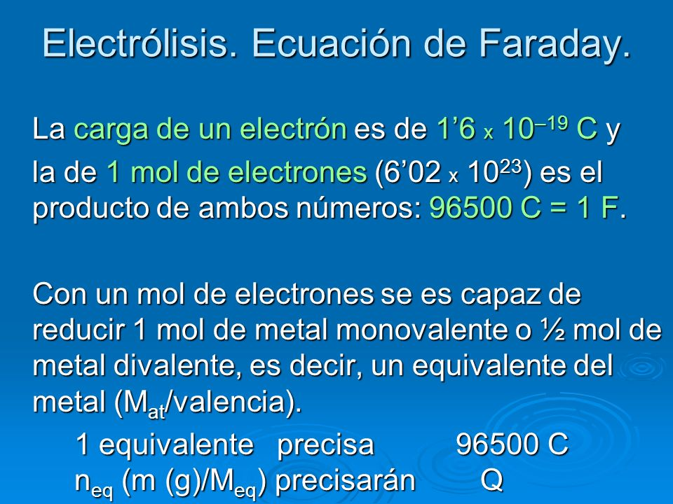 Electrólisis. Ecuación de Faraday.