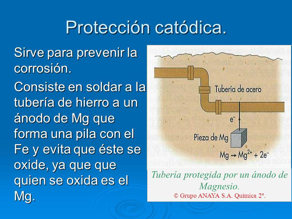 Protección catódica. Sirve para prevenir la corrosión.