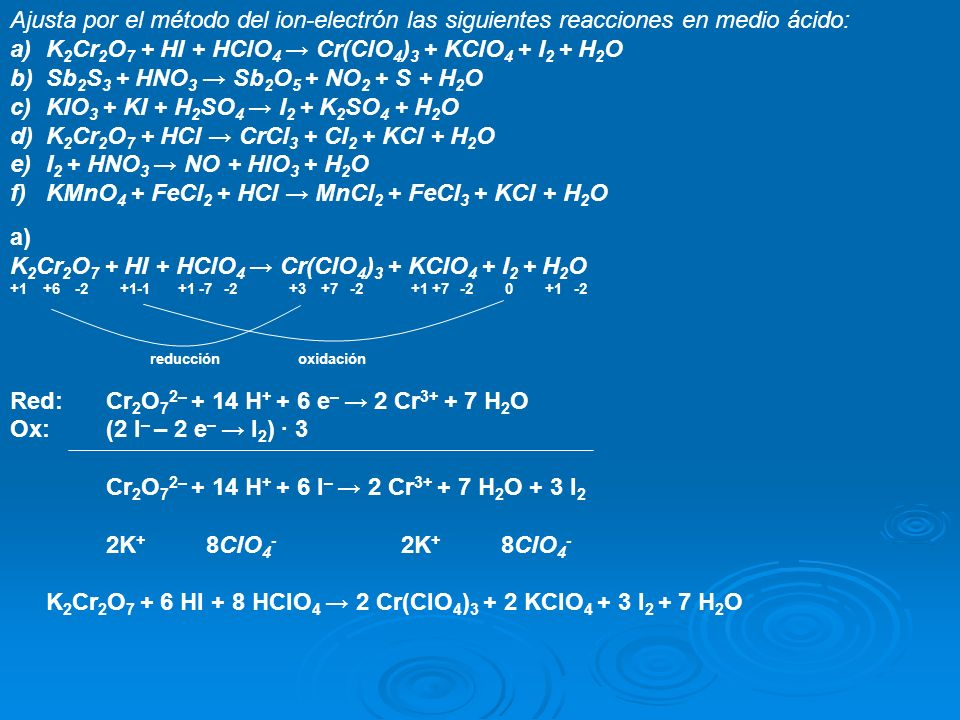 K2Cr2O7 + HI + HClO4 → Cr(ClO4)3 + KClO4 + I2 + H2O