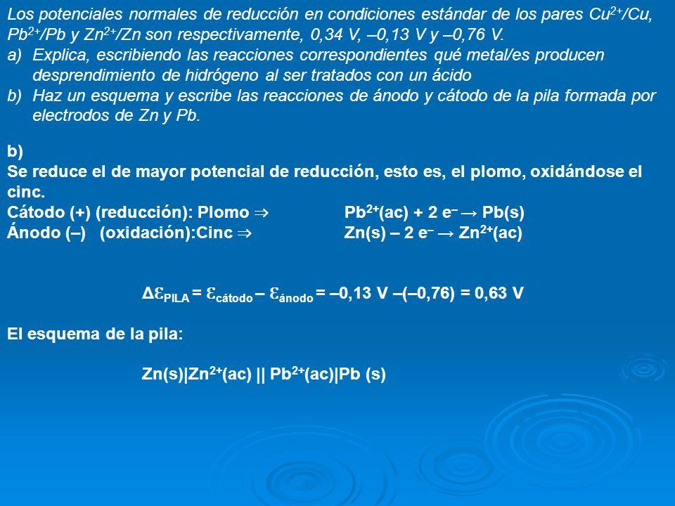 Los potenciales normales de reducción en condiciones estándar de los pares Cu2+/Cu, Pb2+/Pb y Zn2+/Zn son respectivamente, 0,34 V, –0,13 V y –0,76 V.