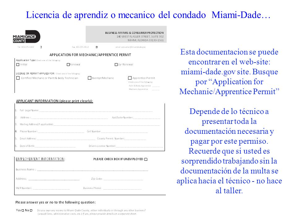 Licencia de aprendiz o mecanico del condado Miami-Dade…