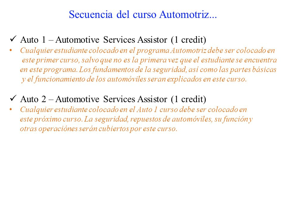 Secuencia del curso Automotriz...