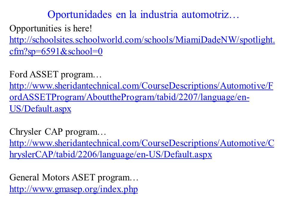Oportunidades en la industria automotriz…