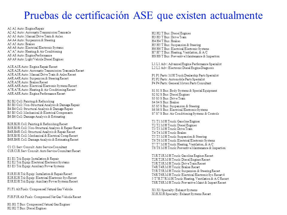 Pruebas de certificación ASE que existen actualmente