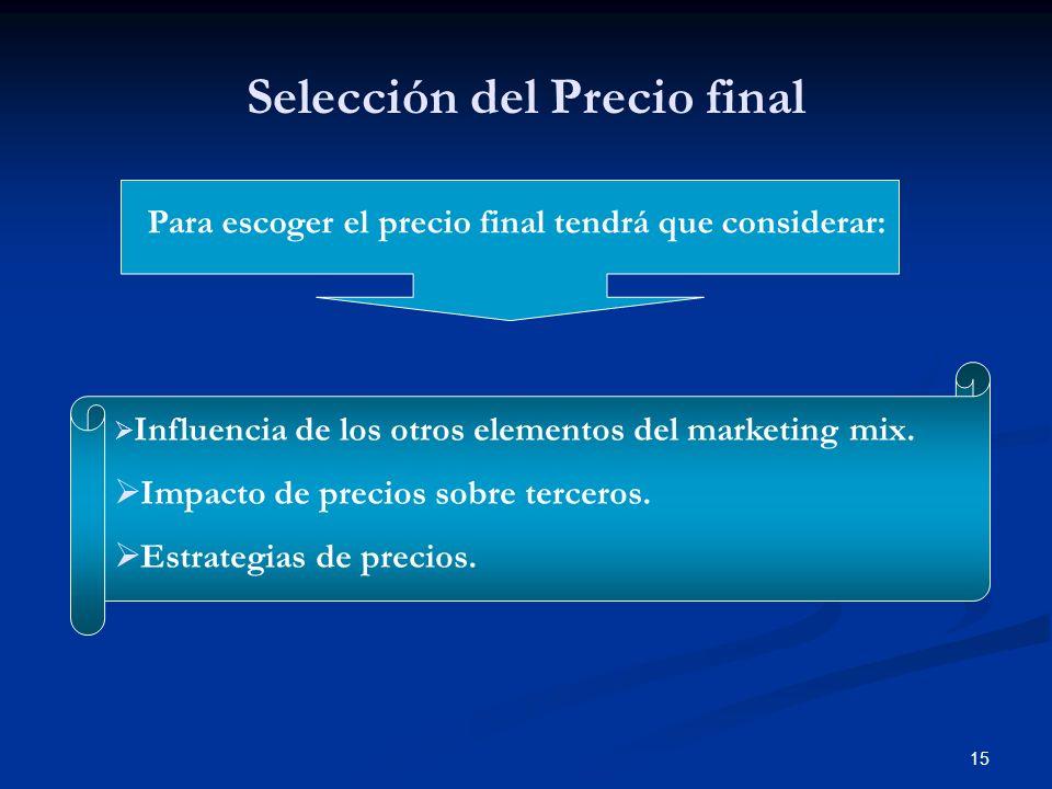 Selección del Precio final