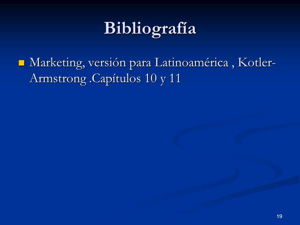 Bibliografía Marketing, versión para Latinoamérica , Kotler- Armstrong .Capítulos 10 y 11