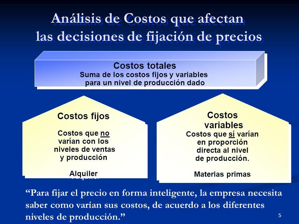 Análisis de Costos que afectan las decisiones de fijación de precios