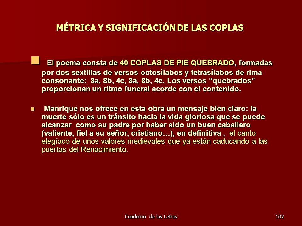 MÉTRICA Y SIGNIFICACIÓN DE LAS COPLAS