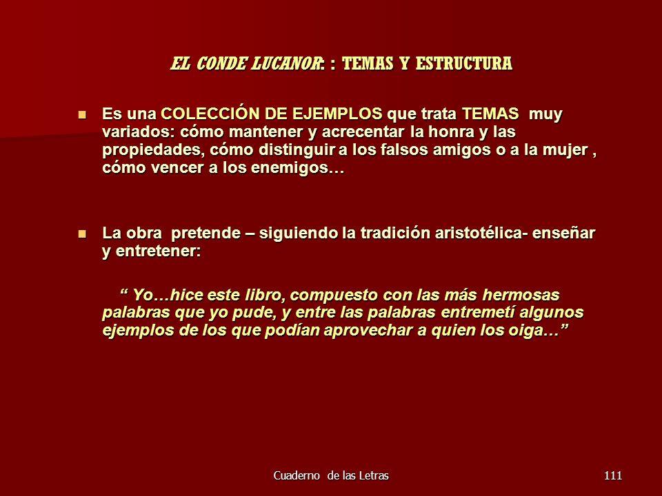EL CONDE LUCANOR: : TEMAS Y ESTRUCTURA