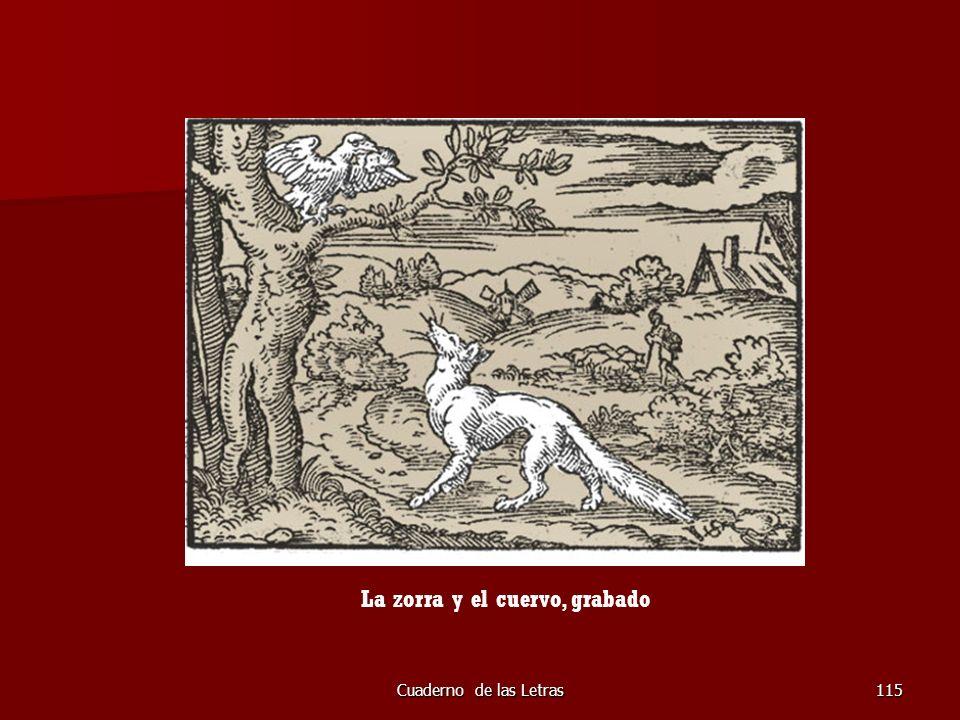 La zorra y el cuervo, grabado