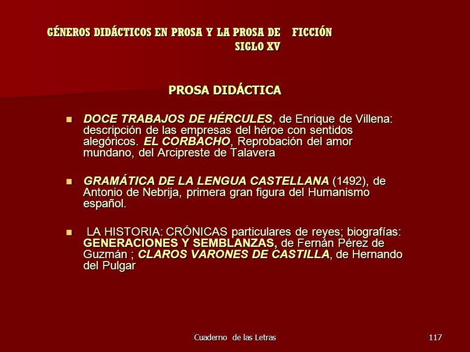 GÉNEROS DIDÁCTICOS EN PROSA Y LA PROSA DE FICCIÓN SIGLO XV