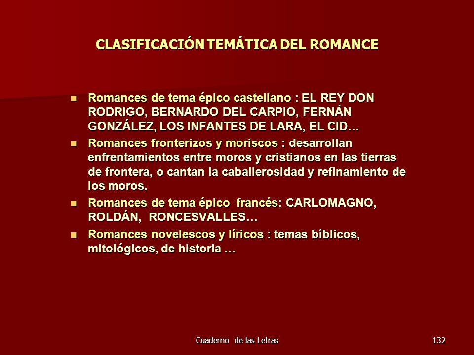 CLASIFICACIÓN TEMÁTICA DEL ROMANCE