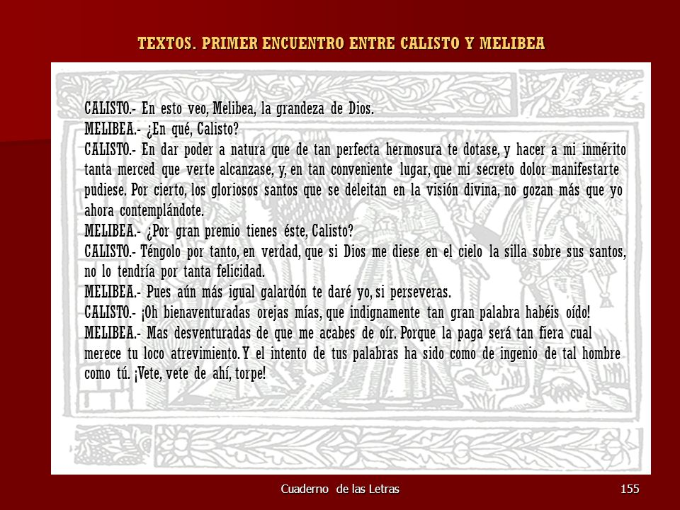 TEXTOS. PRIMER ENCUENTRO ENTRE CALISTO Y MELIBEA