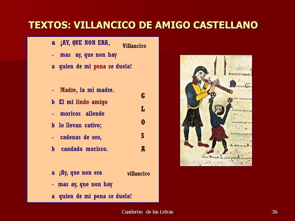 TEXTOS: VILLANCICO DE AMIGO CASTELLANO