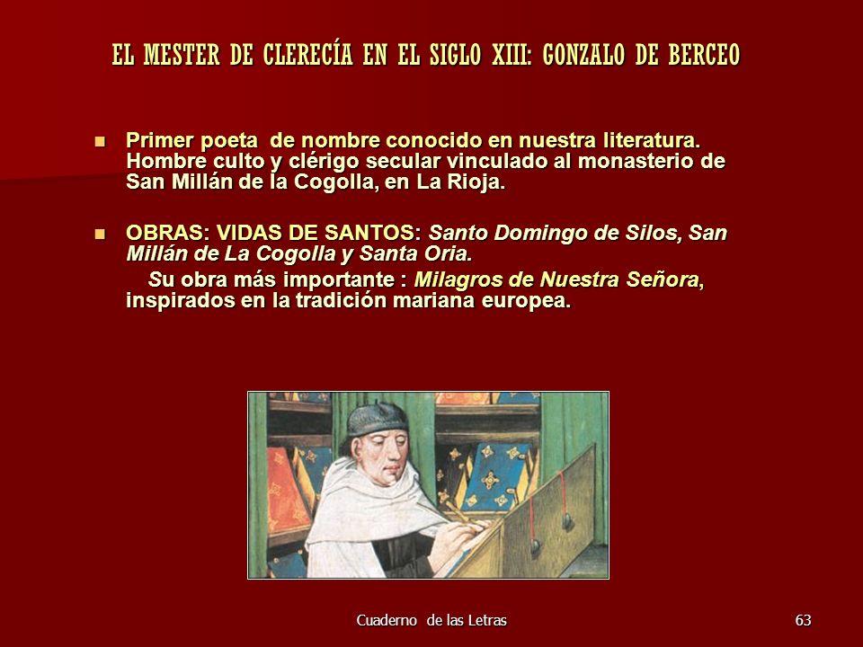 EL MESTER DE CLERECÍA EN EL SIGLO XIII: GONZALO DE BERCEO