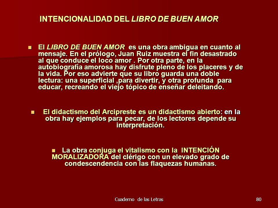 INTENCIONALIDAD DEL LIBRO DE BUEN AMOR