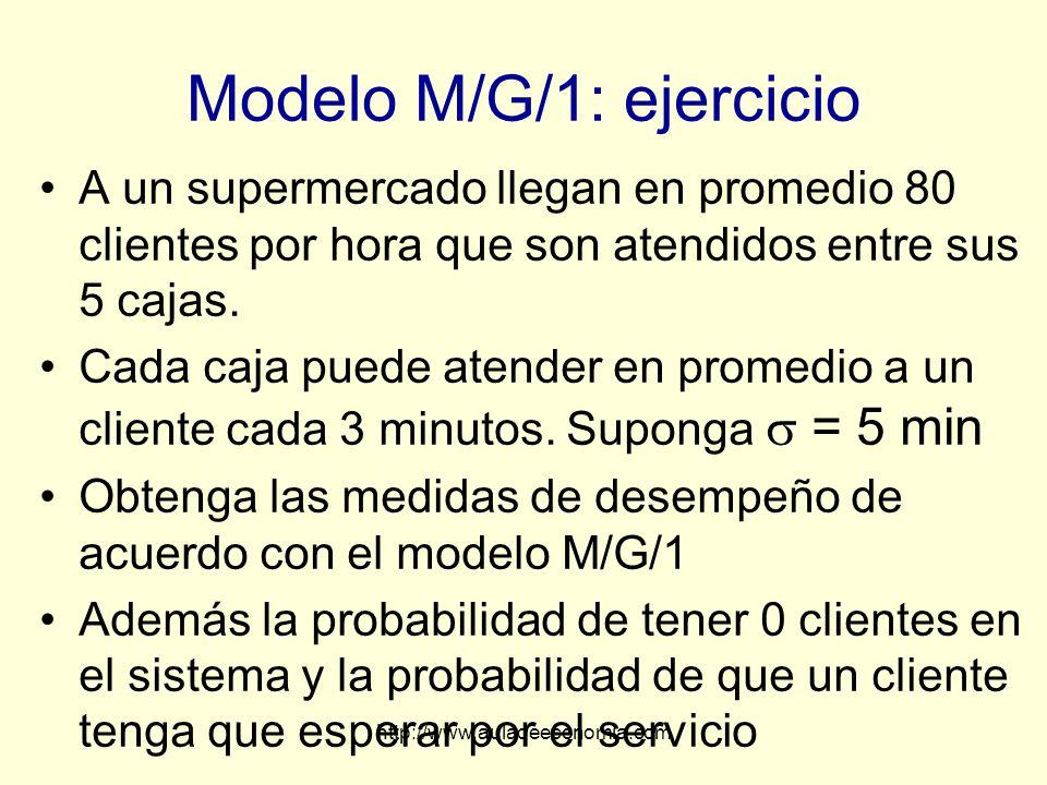 Modelo M/G/1: ejercicio