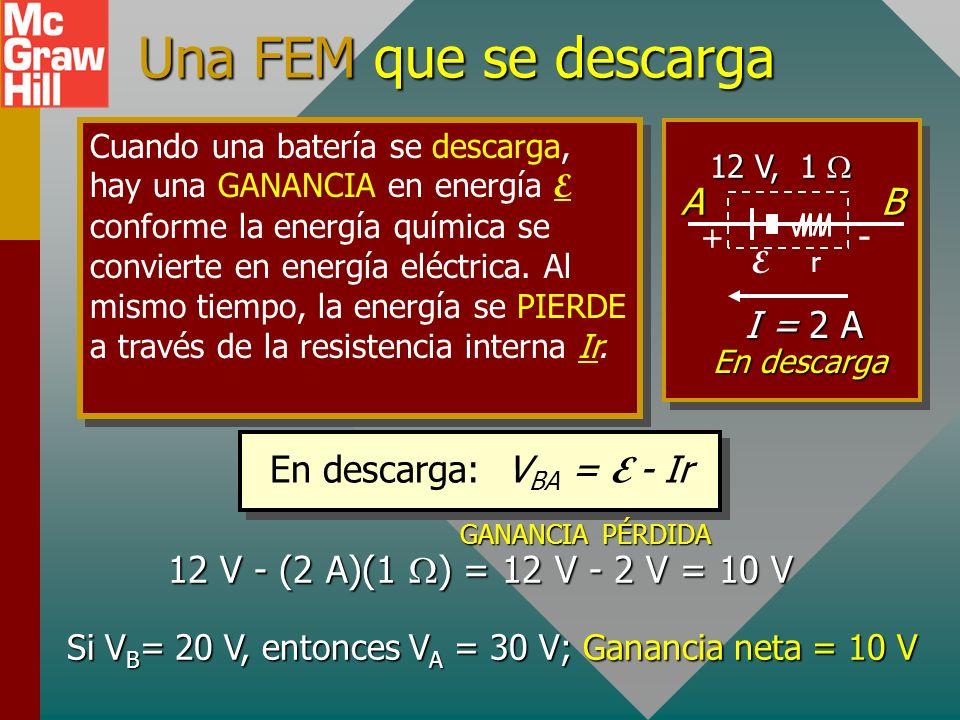 Si VB= 20 V, entonces VA = 30 V; Ganancia neta = 10 V