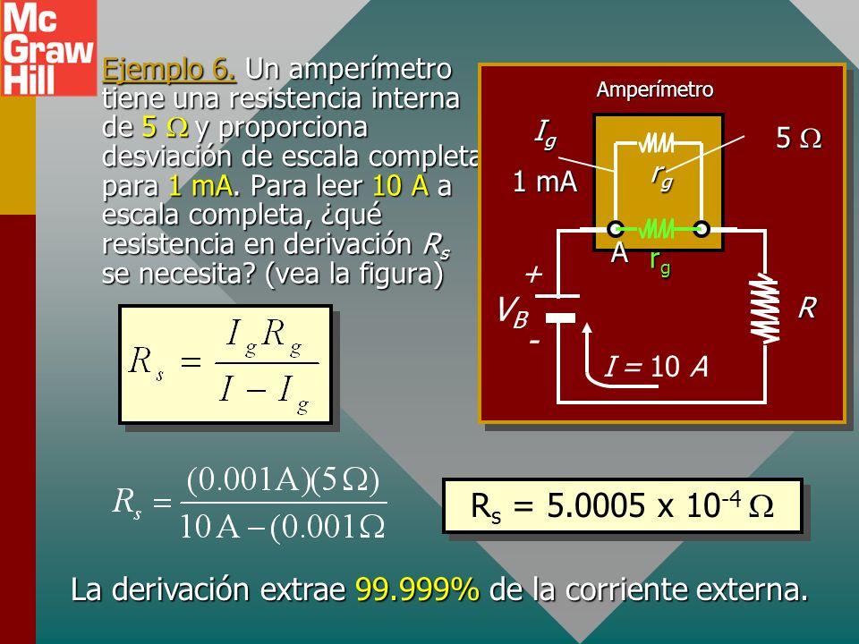 La derivación extrae 99.999% de la corriente externa.