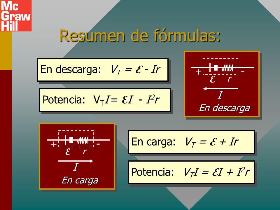 Resumen de fórmulas: En descarga: VT = E - Ir - I